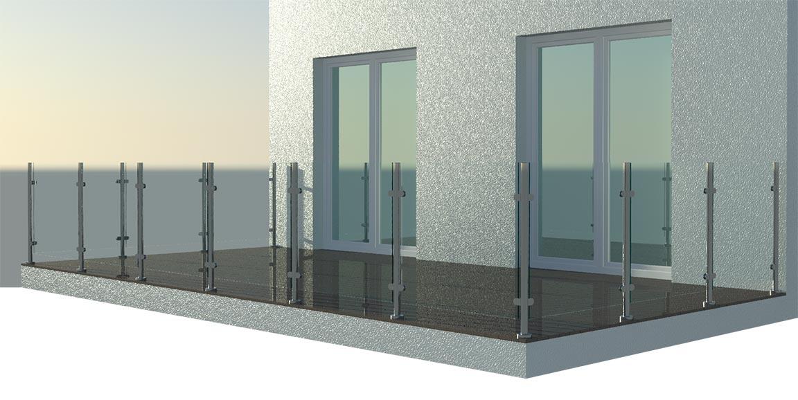 balustrada-szklana-na-samotnych-słupkach