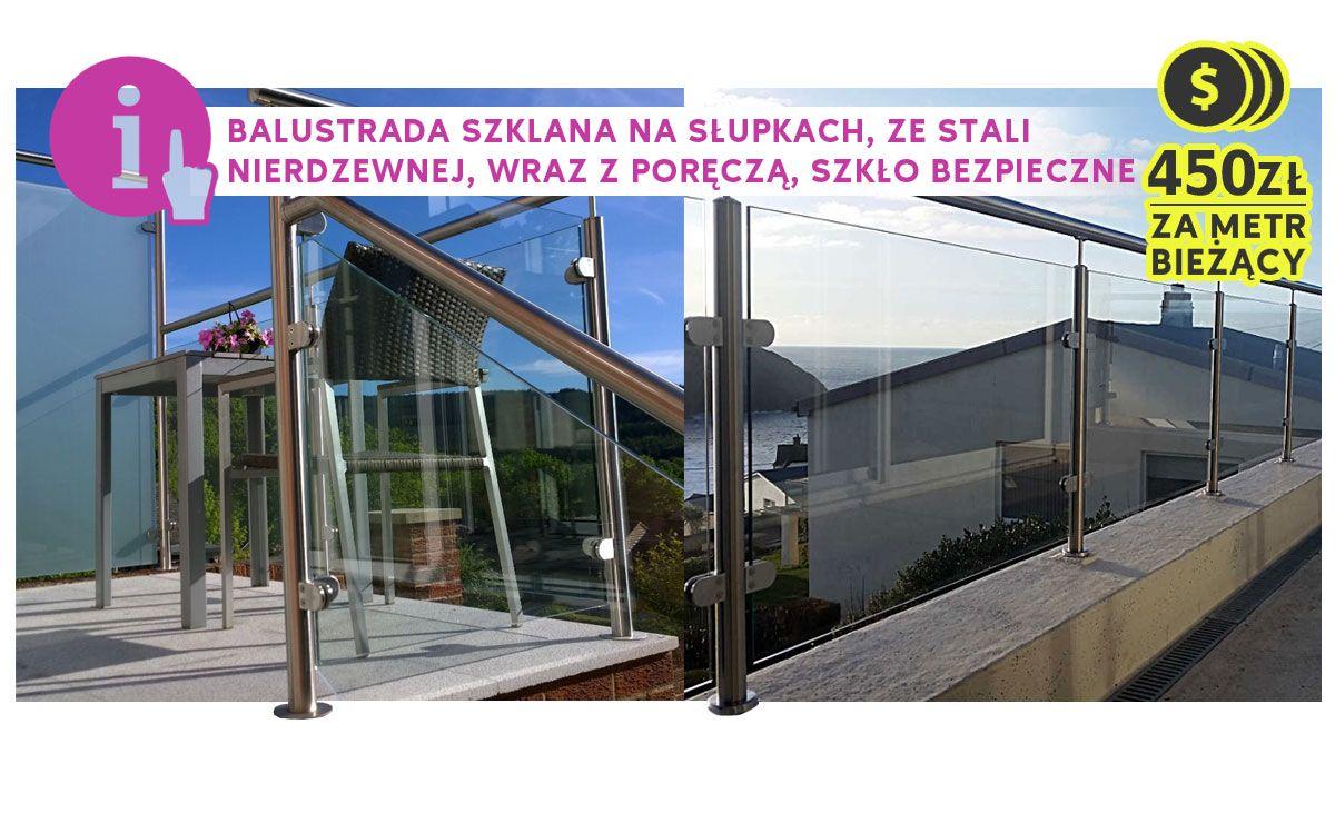 balustrada szklana na słupkach nierdzewnych