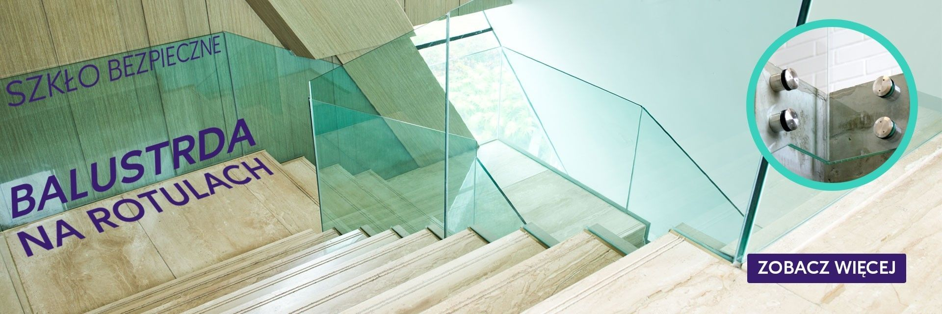 Balustrada szklana na rotulach